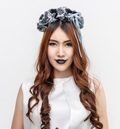 Black floral headband handmade headband on Etsy, ฿599.00