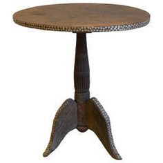 Colonial Teak Wood Side Table with Shell Inlay