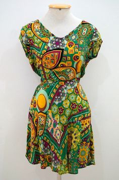 Vestido Godê Sem Botão - Mandalas em cores