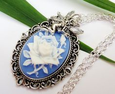 Elegant cameo necklace with rose and fairy, fairytale necklace, fantasy necklace, flower necklace, silver, oval - pinned by pin4etsy.com