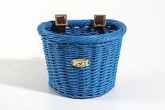 Nantucket Bike Baskets Child Rattan Basket D Shape Royal Blue AMBA Marketing