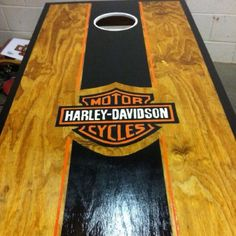 Hand painted Harley Davidson corn hole - perfect gift for my best friend/significant other. <3