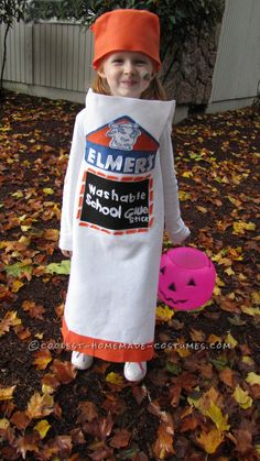 Cool Homemade Elmer's Glue Stick Costume for a Girl… Enter the Coolest Halloween Costume Contest at http://ideas.coolest-homemade-costumes.com/submit/