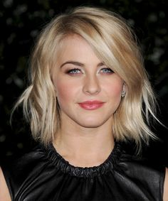 Julianne Hough - Hairstyle This medium length 'do is jagged cut all through the length and long layers to achieve a textured look and feel making this a great hairstyle to compliment a long face. This funky do will need product for hold and shine and regular trims to maintain shape.