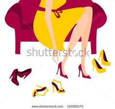 Illustration of a woman trying on elegant high heels. - stock vector  id 101082175