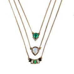 Triple Strand Emerald Gypsy Necklace #rove #rovejewelry #wanderers #gypsy #gold
