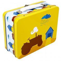 Lunchkoffer Tractor *** Retro blikken lunchkoffertjes naar het design van de Noorse Ingrid Eroy Fagervik. Blafre staat bekende om zijn originele prints en producten. Steek je boterhammetjes in deze leuke lunchdoosjes of gebruik ze als speelgoedkoffertje. Meerdere designs beschikbaar bij Meneer Snor!
