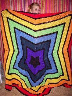 Rainbow star afghan