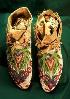 """Sioux Beadwork Moccasins, gorgeous, """"good"""" beadwork is becoming a lost art, parents teach your children NOW to pass it on..."""