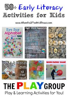 50+ Early Literacy Activities for Kids - fun ways to learn the alphabet, sight words, phonics activities, reading tips, writing fun & more!
