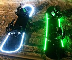 Snowboard Lights - Easy to install waterproof LED strips you can attach to your snowboard, ski's or any other piece of sporting equipment. Available in blue, green, pink and purple.