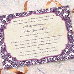 purple damask invitation, purple and ivory bridal shower invitation, wedding invitation, eggplant and ivory party. $20.00, via Etsy.