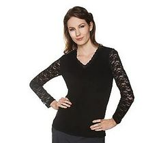 Pin to Win #SusanGraver Sweepstakes! {Liquid Knit Top with Lace Sleeves} Enter here: http://sweeps.pinfluencer.com/QVC