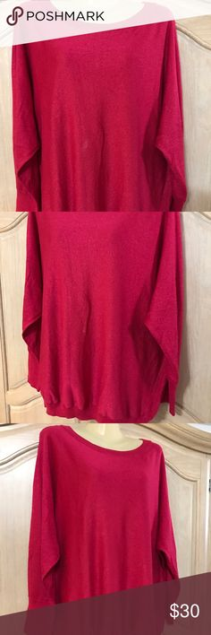 Designer inc sweater Blouse with long sleeves and round neckline in pink color size 22.  76% rayon 16% polyester. 8% spandex INC International Concepts Sweaters