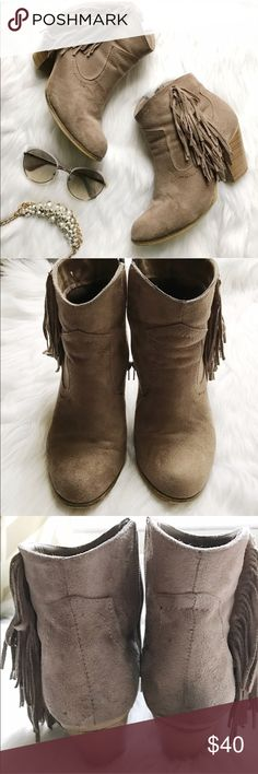 Nine West Suede Booties Suede booties with fringe details. Has some eear as shown in pictures but still has a lot of life left! Nine West Shoes Ankle Boots & Booties