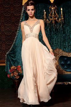 2013 Prom Dresses A Line V Neck Chiffon Sleeveless Floor Length 30798#