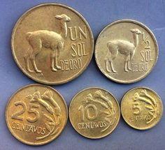 ✅MONEDA DEL PERÚ✅  •SERIE SOLES• (Llamita)  - Un Sol - 1/2 Sol - 25 Centavos - 10 Centavos - 5 Centavos Año: 1966-1975 Metal : Bronce