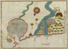 An illuminated map of the Nile estuary, from the greatKitab-ı Bahriye(Book of Navigation)presented to Sultan SüleymanbyPiri Reis, 1525
