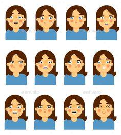 Female face emotional icon isolated on white background vector illustration