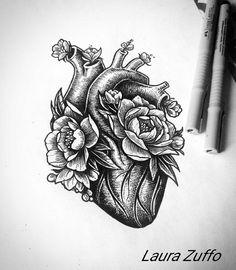 maybe a modern design of half of an anatomical heart for secondary logo/design e. a modern design of half of an anatomical heart for secondary logo/design e Kunst Tattoos, Body Art Tattoos, New Tattoos, Cool Tattoos, Tattoos For Nurses, Tatoos, Drawing For Tattoo, Tattoo Drawings, Drawing Tips