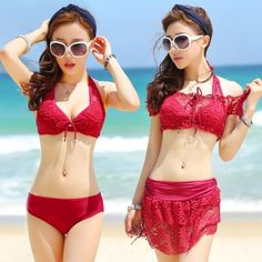 Solid Turkey Red Sexy Lace Skirt Briefs Condole Belt Skimpy Backless Fashion Personality Casual Teen Girls Junior Swimsuit