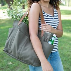 Sized perfectly for gardening tools or your summertime picnic essentials, the durable canvas Garden Tote is the bag you'll be carrying with you everywhere because it fits your everything. Picnic Essentials, Garden Tools, Summertime, Fitness, Leather, Bags, Gardening, Collection, Canvas