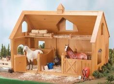 Breyer Traditional Deluxe Wood Barn w/ Cupola (Horse & Accessories Sold Separate) -New-Factory Sealed. Breyer Traditional Series Horse Deluxe Wood Barn with Cupola! The deluxe barn fits up to two Traditional Series horses. Toy Horse Stable, Horse Barns, Horse Stables, Horse Tack, Wooden Toy Barn, Barn Wood, Wooden Horse, Making Wooden Toys, Farm Toys
