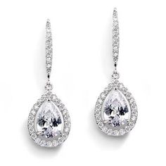 7//8 inch Rhodium Plated Sterling French Wire Teardrop Earrings Cubic Zirconia CZ Pave Drops
