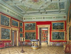 Interiors of the New Hermitage. The Room of Flemish School