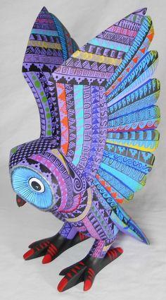 Solmar Imports - Mata Ortiz, Juan Quezada, Casas Grandes Pottery and Oaxacan Wood Carvings - Alebrijes, Oaxacan Animals. African Sculptures, Textile Sculpture, Owl Photos, Mexican Designs, Bird Crafts, American Indian Art, Clay Animals, Driftwood Art, Owl Art