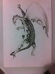 Dragon, Gel pen and water panting