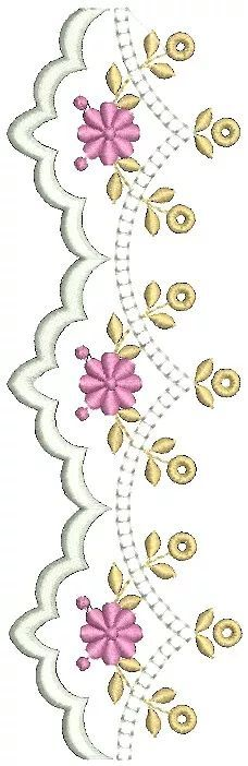 bordados barras e passa fitas - matrizes computadorizados White Embroidery, Vintage Embroidery, Embroidery Applique, Embroidery Patterns, Hobbies And Crafts, Diy And Crafts, Brother Innovis, Brazilian Embroidery Stitches, Quilt Border