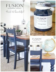 Fusion Midnight Blue Dining Set Makeover Lost Found Painted Dining Room Table, Dining Room Blue, Painted Chairs, Kitchen Chairs Painted, Blue Dining Room Furniture, Navy Blue Dining Chairs, Chairs For Dining Table, Refinishing Kitchen Tables, Navy Blue Furniture