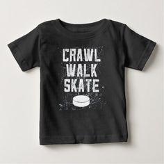 CRAWL WALK SKATE ice hockey baby t-shirt gift - baby gifts child new born gift idea diy cyo special unique design
