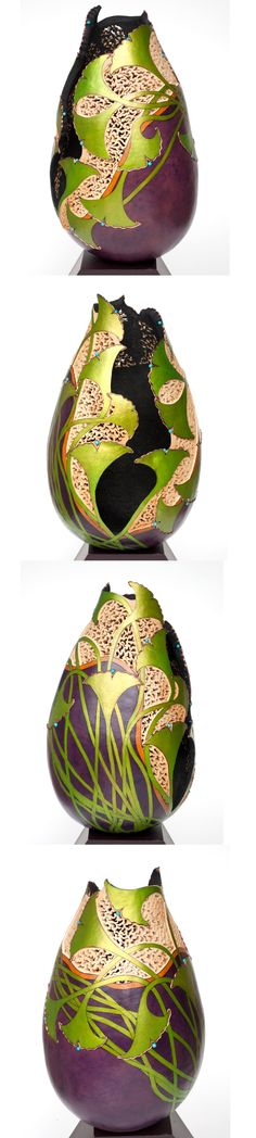 Gourd Art by Rosario Wilke featuring GourdMaster Transparent Acrylics and Metallic Inks
