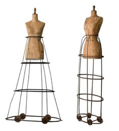 Left: Wood dress forms on iron frame with wood wheels at base, France, c. 1750. RIght: Paper clad bust top, c.1940.
