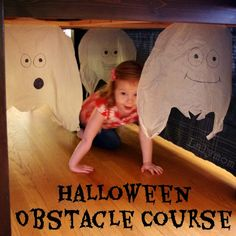 Halloween Obstacle Course for Kids: Ghosts under the table, pumpkin patch obstacles, spiderweb hurdles