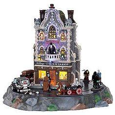 Lemax Spooky Town Village Undertaker Set of 9 with Adaptor # 25335 Halloween Village, Halloween House, Halloween Town, Halloween Decorations, Halloween Stuff, Happy Halloween, Spook Houses, American Sales, Lemax Village