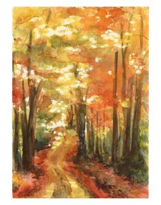 Autumn Path - a watercolor painting that I made. Prints are available at the link: http://www.deviantart.com/print/5062141/   Art by Jackie Sullivan.
