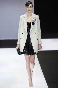 Emporio Armani | Fall 2016 Ready-to-Wear | 01 White oversized blazer and black mini dress