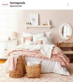 Best Blush Pink And Lovely Bedroom Design Ideas Part 2 ; pink bedroom ideas for women; pink bedroom ideas for kids; pink bedroom ideas for adults; pink bedroom grown up Dusty Pink Bedroom, Rose Bedroom, Pink Bedroom Design, White Bedroom Decor, Pink Room, Dream Bedroom, Home Decor Bedroom, Dream Rooms, White Bedrooms