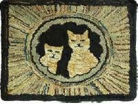 Antique rug, cats peering down a hole