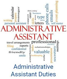 List of administrative assistant duties and responsibilities. Practical and complete job descriptions for different administrative assistant jobs. Understand the administrative role. Administrative Assistant Interview Questions, Administrative Assistant Job Description, Administrative Assistant Cover Letter, Administrative Jobs, Administrative Professional, Personal Assistant Duties, Virtual Assistant, Medical Receptionist, Office Administration