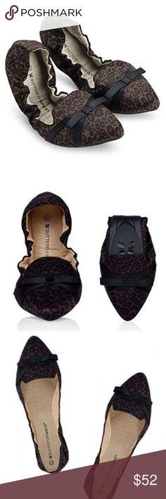 Butterfly Twists NIB Women/'s Jamie Tan Satin Leopard Folding Ballerinas