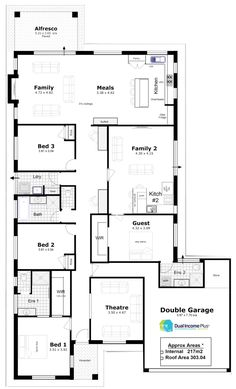 Discover our entire range of Dual Occupancy House Plans designed for the Perth metro area . From Single storey studio's to custom granny flats attached to the main home. We offer Double Storey and house behind house special purpose duplex style designs. House Plans One Story, Family House Plans, One Story Homes, New House Plans, Dream House Plans, House With Granny Flat, Granny Flat Plans, Duplex Floor Plans, House Floor Plans