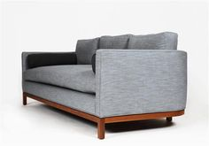 "Lawson Fenning  Curved Back sofa DETAILS Frame: American Walnut  Wood Finishes: Light, Medium, Dark, Ebonized  16 yards of fabric needed (solid) 18 yards of fabric needed (patterned) DIMENSIONS 84""L x 37""D x 31""H (overall) 26""H (arm height) 17.5"" seat height PRICE $2,950 COM"
