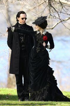 """""""the-garden-of-delights: """"Tom Hiddleston as Sir Thomas Sharpe and Jessica Chastain as Lady Lucille Sharpe on the set of Crimson Peak (2014). """" """" Yes. I want this movie. I want their clothes."""