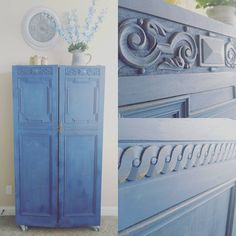Restored and refinished family armoire now serves as jewelry armoire fitted with shelves and numerous hooks. Photos of interior to come later. #restoration #armoire #restore #furniture #texaswoodworker #refinishedfurniture #refinish #woodworking #dowoodworking #wood #diy #michaelsstores #blues. #shadesofblue #cobalt #artmindschalkpaint #thejoneswoodfactory