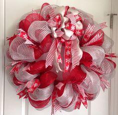 Candy cane deco mesh wreath