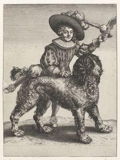 Anonymous | Portret van Frederik de Vries, Anonymous, Hendrick Goltzius, 1597 - 1667 | Portret van Frederik de Vries met de hond van Hendrick Goltzius. Hij was een zoon van de schilder Dirck de Vries, die een leerling was van Hendrick Goltzius. Frederik maakt aanstalten om op de rug van de hond te gaan zitten en houdt een vogel in de hand.